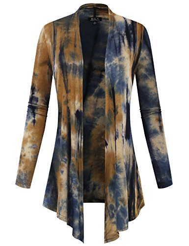 - BH B.I.L.Y USA Women's Open Front Drape Hem Lightweight Cardigan Tie-Dye Taupe 2 Small