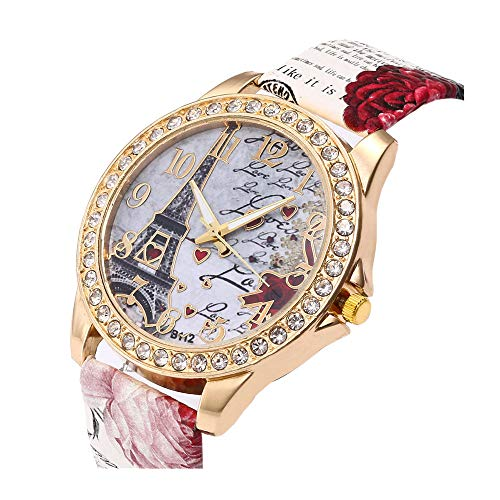 (Women's Wrist Watch Vintage Paris Eiffel Tower Crystal Leather Quartz Wristwatch Best Gift)