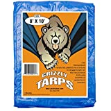 B-Air BA-GT-8X10-BL GTRP810 Grizzly 8 x 10 Feet Blue Multi Purpose Waterproof Poly Tarp Cover 5 Mil Thick 8 x 8 Weave, 8X10