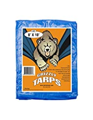 Grizzly Tarps 8 x 10 Feet Blue Multi Purpose Waterproof Poly ...