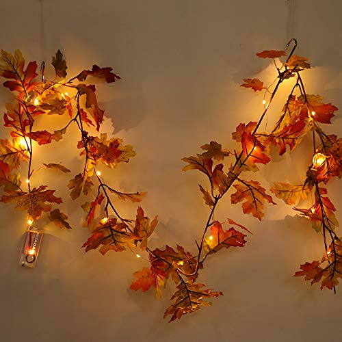 LED Lighted Fall Garland, Pumpkin Maple Leaves Garland with Sunflowers, Maple Leaves, Pine Cones, and Berries Decor for Halloween Thanksgiving Day (Maple Leaves)