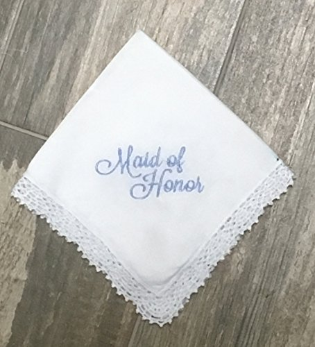 (Maid of Honor handkerchief, Something Blue, Bridal Party Handkerchief, wedding handkerchief, personalized wedding hanky, bouquet wrap)