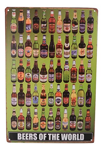 Beer of the World Funny Alcohol Drinking Tin Sign Bar Pub Diner Cafe Home Wall Decor Home Decor Art Poster Retro Vintage