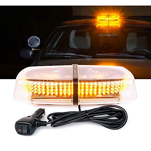 Lumenix 240 LED 7 Strobe Patterns Traffic Warning Law Enforcement Harzard Roof Amber Mini Light Bar with Strong Magnetic, Safety Beacon Flash Strobe Light for Construction Snow Plow Car Truck Vehicle