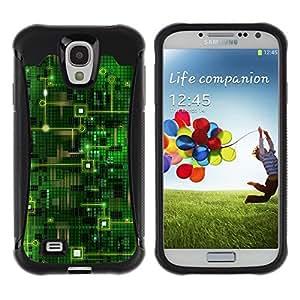 LASTONE PHONE CASE / Suave Silicona Caso Carcasa de Caucho Funda para Samsung Galaxy S4 I9500 / Computer Chip Code Technology Green Art