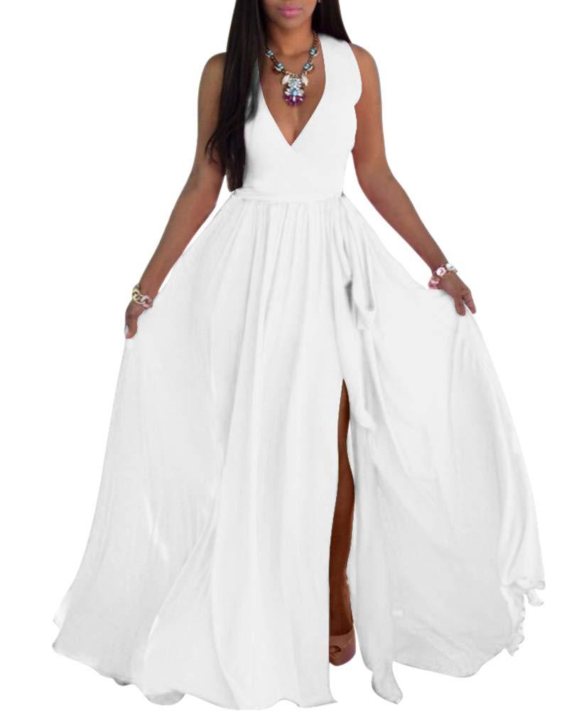 SheKiss Womens Sexy V-Neck Chiffon Long Maxi Dresses Sleeveless Split Beach Bridesmaid Flowy Sundress White