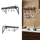 Wall Kitchen Rack, Wall Mounted Pot Pan Rack with 10 Hooks, Pot Holder Kitchen Storage Cabinets Shelves for Home