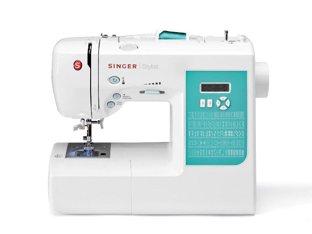 SINGER Stylist - Máquina de coser (Eléctrico, Cian, Color blanco, El pie para ojales): Amazon.es: Hogar
