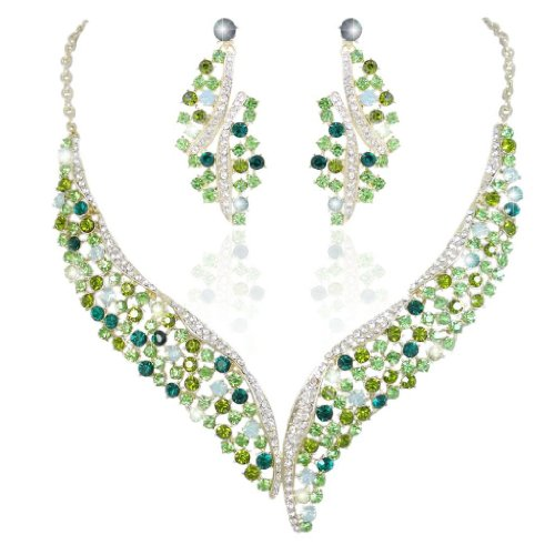 Crystal Graceful Wing Flower Necklace Earrings Set Light Green Gold-Tone (Light Green Necklace)