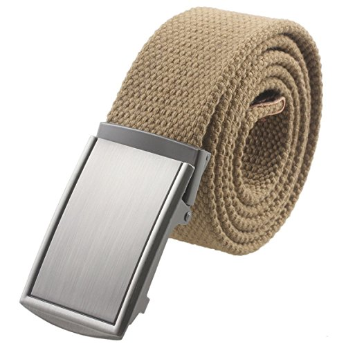 [Moonsix Canvas Web Belts for Men,Solid Color Military Style Belt Buckle ,Khaki] (Buckle Khaki)