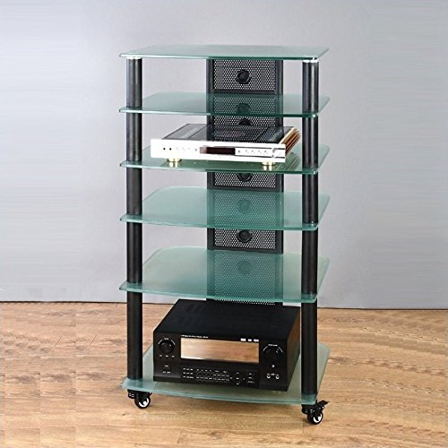 (NGR Series Silver Framed Audio Video Rack w Clear Glass Shelves)