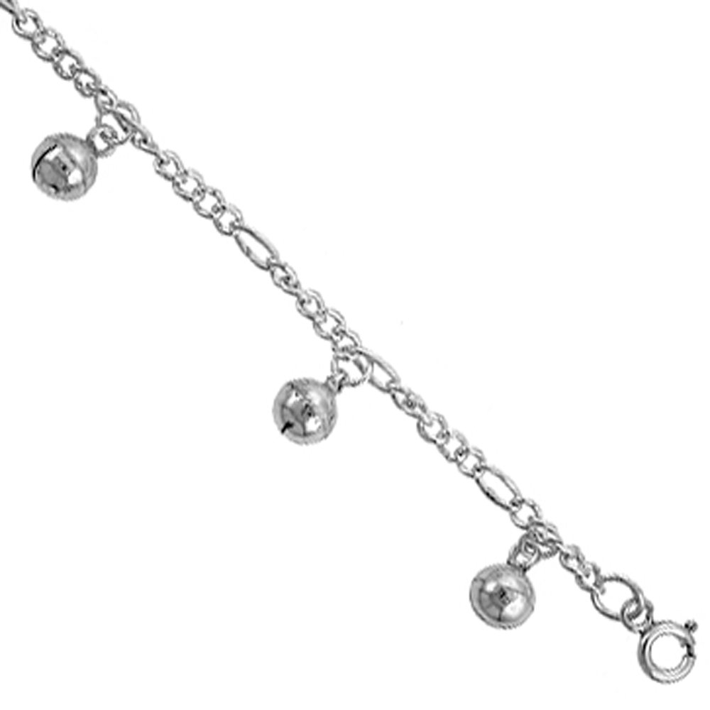 Sterling Silver Jingle Bells Anklet 12mm wide, fits 9 - 10 inch ankles