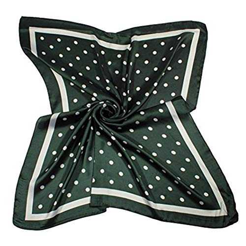 Jaweaver Women's Square Silk Like Scarves Vintage Dots Head Scarf 27inch (Green)
