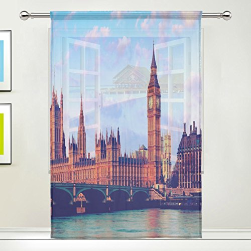Big Ben Westminster bridge Sunset London Sheer Curtain for Living Dining Room Bedroom 55 x 84 Inches Long Orange Window Treatments Rod Pocket Polyester Fabric