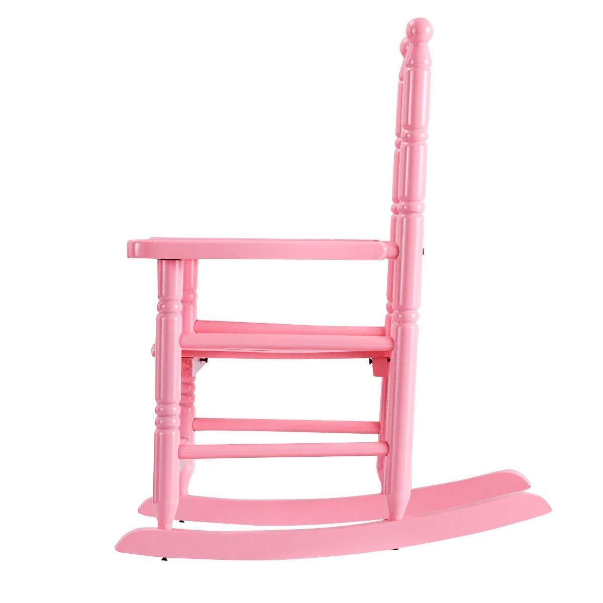 HONEY JOY Kids Rocking Chair, Wooden Classic Porch Rocker, Double Slat Back Rocking Chair (Pink) by HONEY JOY