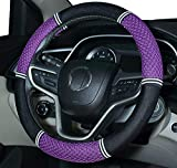 Amuahua Needle Steering Wheel Covers Universal 15 inch with Soft Fiber Leather Braid for Car Truck SUV (Purple)