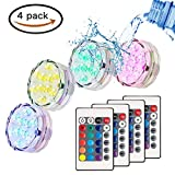 Submersible LED Light(4pcs),RGB Multi Color Waterproof Battery Remote Control Powered Lights Controller for Hot Tub Fountain Vase Swimming Pool Decoration Pond Garden Party Weeding Christmas