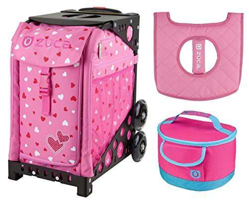 Zuca Sport Bag - Sweet Heartz with gift Lunchbox and Seat Cover (Black)