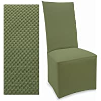 Stretch Pique Balsam Green Set of four Dining Chair Covers 708