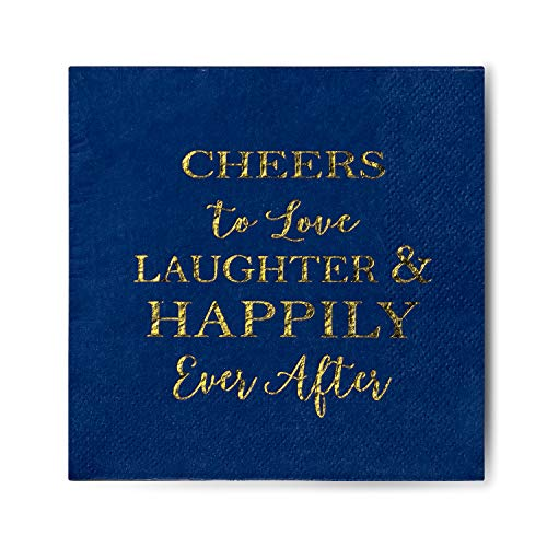 Crisky Bridal Shower Napkins Disposable Cocktail Napkins 3-Ply Gold Foil Blue Paper Beverage Napkins for Engagement Party Decorations & Wedding Shower