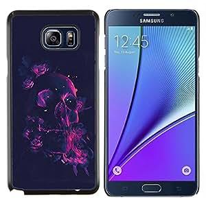 Caucho caso de Shell duro de la cubierta de accesorios de protección BY RAYDREAMMM - Samsung Galaxy Note 5 5th N9200 - Cráneo rosado de Rose de neón