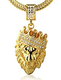 """Halukakah® Men's 18k Real Gold Plated """"KINGS LANDING"""" Crown Lion Pendant Necklace,Cz Inlay,with FREE Fishtail Chain 30"""""""