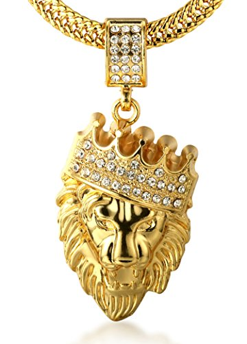"""Halukakah """"KINGS LANDING"""" Men's 18k Real Gold Plated Crown Lion Pendant Necklace with FREE SharkTail Chain 30""""..."""