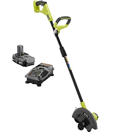 Ryobi ONE+ 9 in  18-Volt Lithium-Ion Cordless Edger, 1 3 Ah Battery and  Charger Included