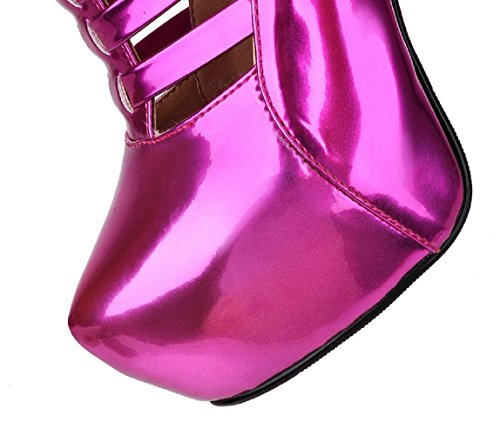 HooH Women's Platform Hollow Out High Heel Boots Rose Red oOEs2c6gyx