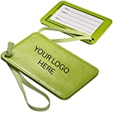 Venezia Luggage Tag - 100 Qty - 3.11 Each - Promotional Product Imprinted & Personalized Bulk with Your Custom Logo Lime Green