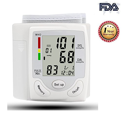 Wrist Blood Pressure Monitor Accurately Monitor with 90 Memory Capacity,Heart Rate & Irregular Heartbeat Detector, Date and Time (White)