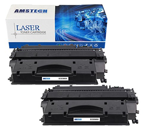 2Pack Amstech 6,500 Pages High Yield Compatible Black Toner Cartridge Replacement For HP 05X CE505X CE505 For Printers HP LaserJet P2055 HP LaserJet P2055D HP LaserJet P2055DN HP LaserJet P2055X