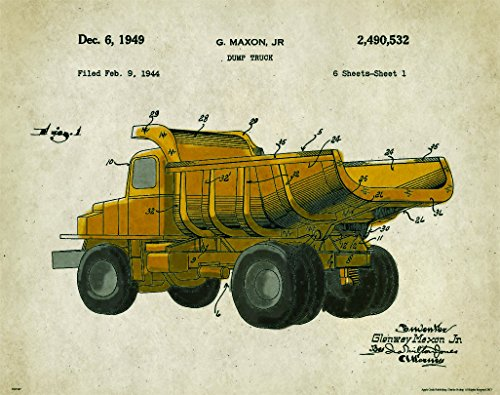 Dump Truck Patent Poster Art Print Wall Decor Picture Charles Freitag Vintage Construction Heavy