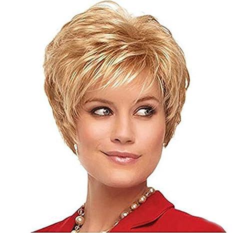 Royalfirst Pelucas cortas rizadas de rubio para mujer, pelucas sintéticas naturales resistentes al calor