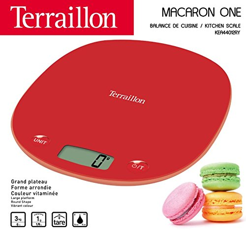 Terraillon Kitchen Scale, Tare, Liquid Conversions, Integrated Handle, 3 kg Range, Macaron One Yuzu, Yellow living coral