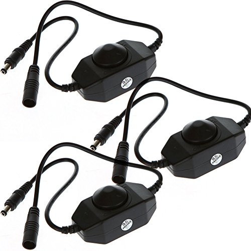 Pwm Dimmer (FAVOLCANO 3pack New Mini DC 12V 2A Single Channel Inline PWM mini led dimmer controller for Single Color LED Light/Strip/Lamp, Black)