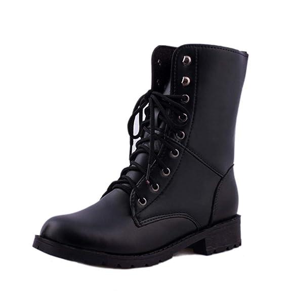 8c1003b16 ... Botas Militares del Combate del ejército Negro. Yesmile Zapatos para  Mujer❤️Zapatos Los Hombres de Las Mujeres Atan para Arriba el Motorista