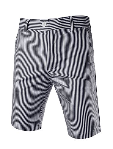 uxcell Men Stripes Flat Front Plain-Front Mid Rise Chino Walk Summer Slim Fit Seersucker Shorts Black 34