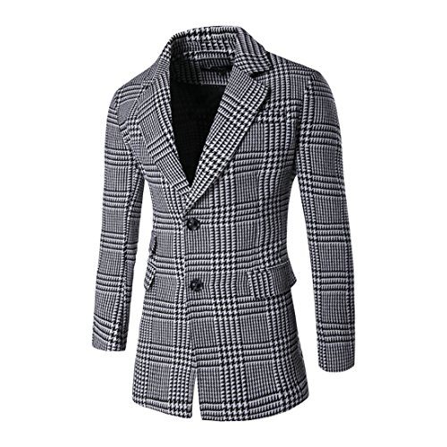 MLG Mens Classic Slim Houndstooth Overcoat Plaid Peacoats as picture L