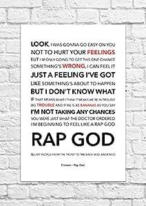 Eminem–Rap dios–Lyrical song art Póster–sin impresión