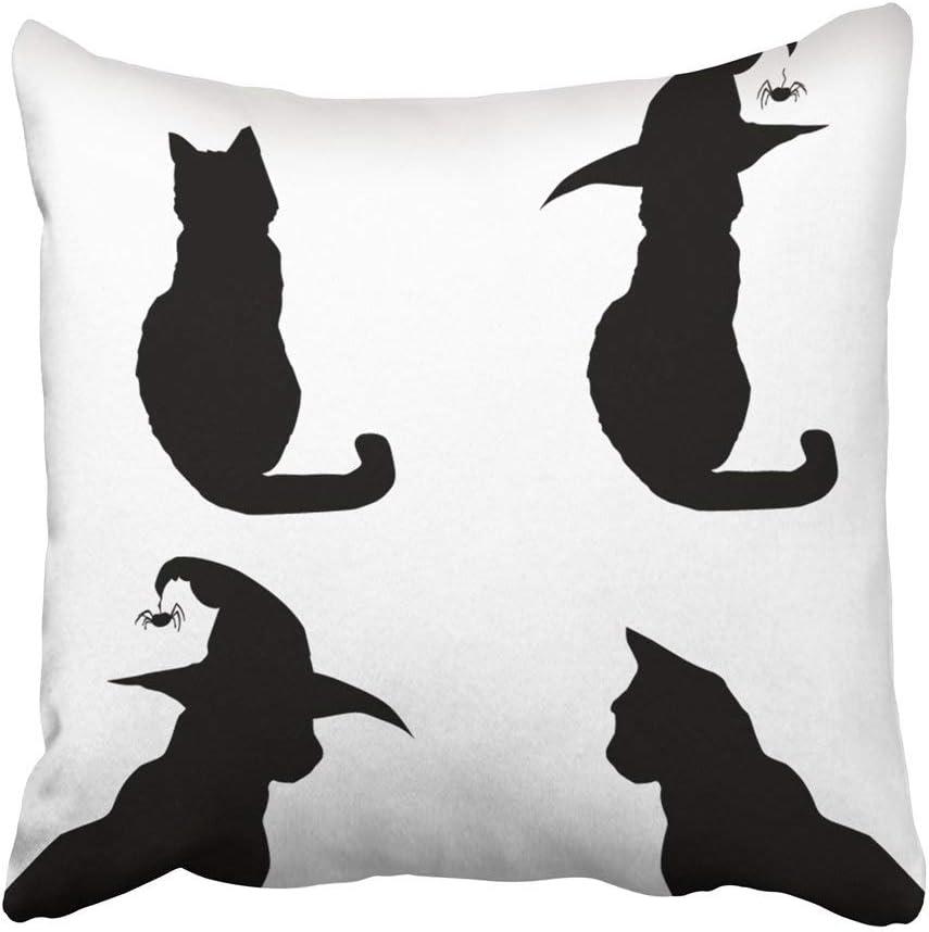 Cojín Cojín Cuadrado Decorativo Animal Siluetas de Halloween de Gatos Negros Clip Blanco Otoño Hermoso Gorro de ...