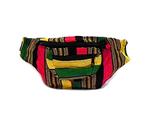 Rasta Striped Woven Casual Travel Lightweight Waist Bag Fanny Pack Belt w/Adjustable Buckle Strap & Two Exterior Zipper Pockets (Stitch ()