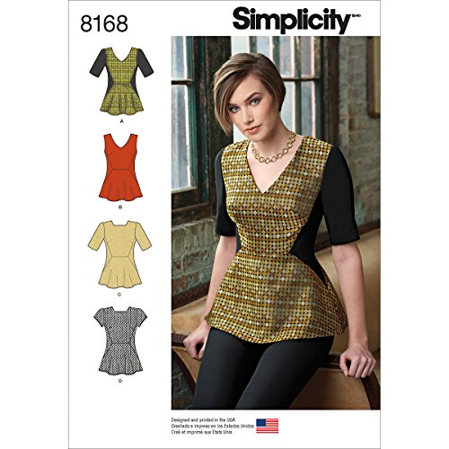 Simplicity Pattern 8168 Misses' Peplum Top with Neckline and Sleeve Variations Size R5 (14-16-18-20-22)