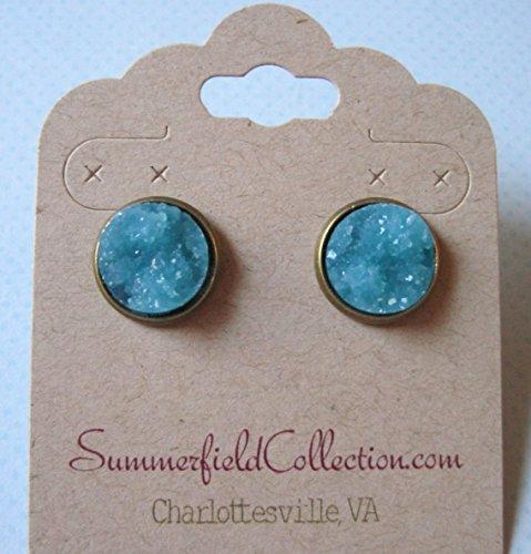 Antiqued Gold-tone Aqua Blue Faux Druzy Stone Stud Earrings 12mm (Guys Dance Costumes)
