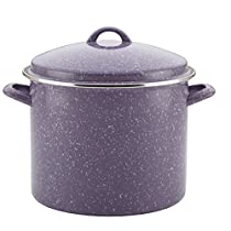 Single Piece Lavender Speckle 12-Quart Steel Covered Stockpot, Traditional Style, Aluminum Metal Material, Stain Resistant, Two Sturdy Side Handles, Hand Wash, Long-Lasting Stovetop