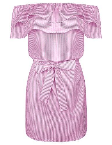 Aifer Women's Casual Summer Off Shoulder Midi Dresses Striped Ruffles Strapless (Canvas Womens Dress)