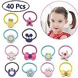#3: 40 PCs Baby Girls Hair Bow Elastic Ties 1 Inch Mini Bow Ponytail Holders Toddler Pony Holder Hair Elastics Value Set