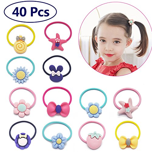 (Baby Girls Hair Ties Bow Elastic 1 Inch Mini Ponytail Holders Toddler Pigtail Holder Hair Elastics Value Set 40 PCs)