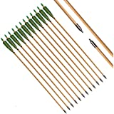 FlyArchery 12PK Traditional OD8.5mm Wooden Arrow Green Shield Fletching with Field Points For Recurve & Longbow