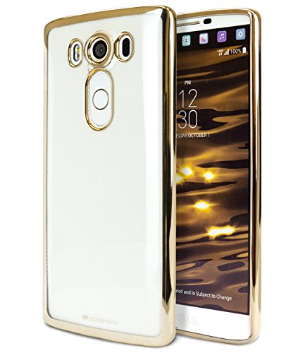 LG V10 Case, [Ultra Slim Fit] Goospery Ring 2 Jelly Case [Metallic Edge Finish] Premium TPU Case Cover [Anti-Yellowing / Discoloring Finish] for LG V10 - Gold